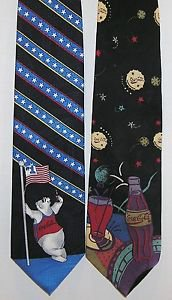 Coca-Cola Polar Bear Lot of 2 Collectable Coca Cola Brand Neckties Advertising
