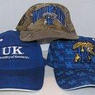 University of Kentucky Wildcats NCAA Lot of 3 Hats Velcro Snapback Fitted Hat