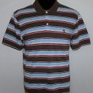 Penguin Men's Multi Color Striped Red Logo Short Sleeve Casual Polo Shirt Size L