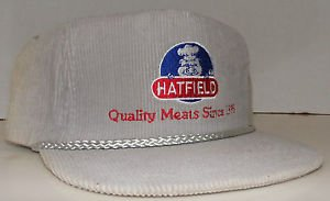 Hatfield Quality Meats Since 1895 Vintage Corduroy Zipper Strapback Hat Cap