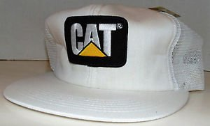 CAT Caterpillar Classic White Emblem Patch Vintage Trucker Snapback Hat Cap New
