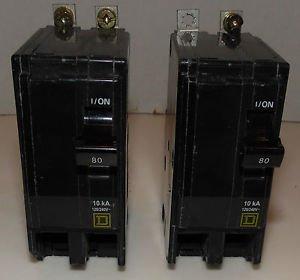 Square D QOB280 Circuit Breaker 120/240V 80Amp 2-Pole Bolt In Breaker Lot of 2