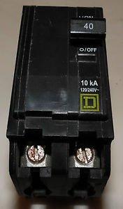 Square D QOB240 Circuit Breaker 120/240V 40 Amp 2-Pole Bolt In Breaker