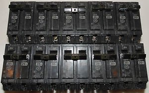 GE General Electric THQL2120 20 Amp Lot of 10 2-Pole Breakers 120/240V Model S