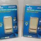 Leviton 6633-PLI Lot of 2 Slide Dimmer Optional Locator Light On/Off Switch 600W