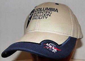 NASA Columbia Scientific Balloon Facility Khaki Blue Trim Velcroback Hat Cap