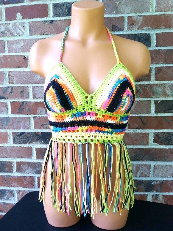 Gypsy Colorful Crochet Fringe Halter Top by Vikni Crochet Designs