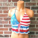 Festival American Flag Top, Hippie Crochet Top by Vikni Crochet Designs