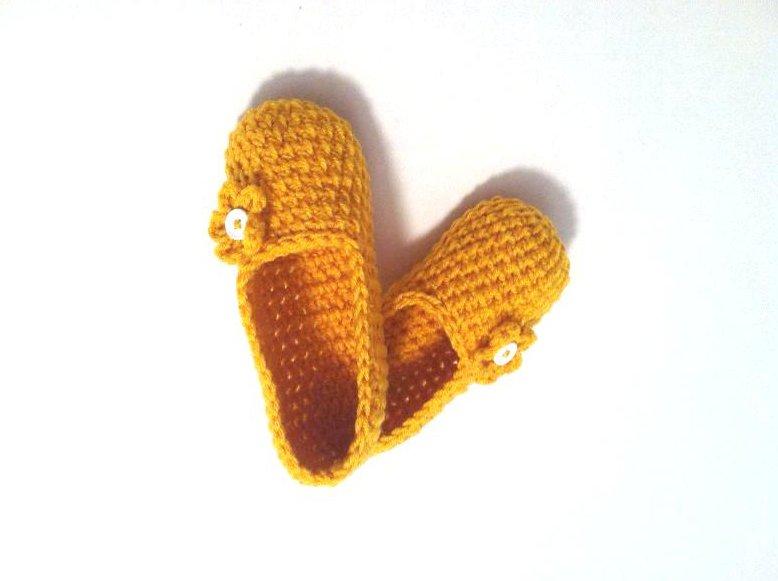 Mustard Crochet Slippers, Women's House Shoes by Vikni