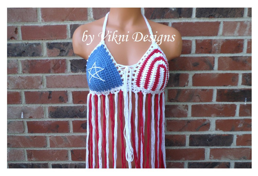 Classic Crochet American Flag Fringe Top by Vikni Crochet Designs