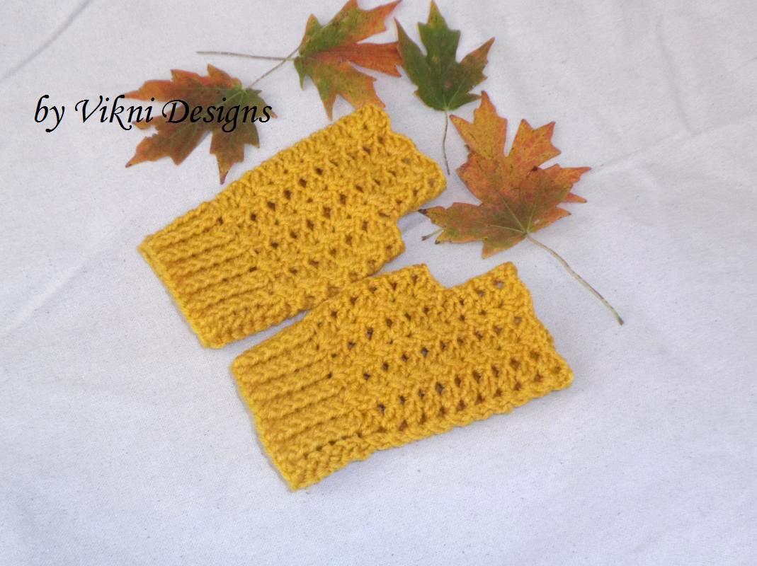 Gold Mustard Finger less Gloves, Crochet Gloves by Vikni Designs