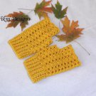Gold Mustard Finger less Gloves, Crochet Gloves by Vikni Designs