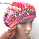 Multicolor Slouchy Crochet Hat by Vikni Crochet Designs
