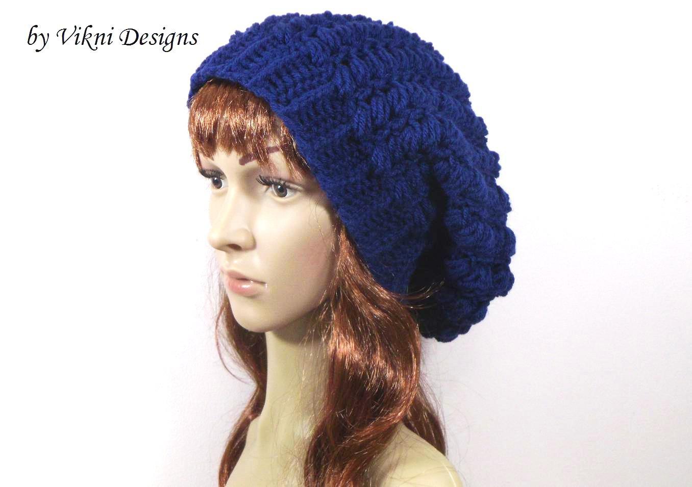 Crochet Slouchy Crochet Hat Beanie in Navy BLue by Vikni Crochet Designs