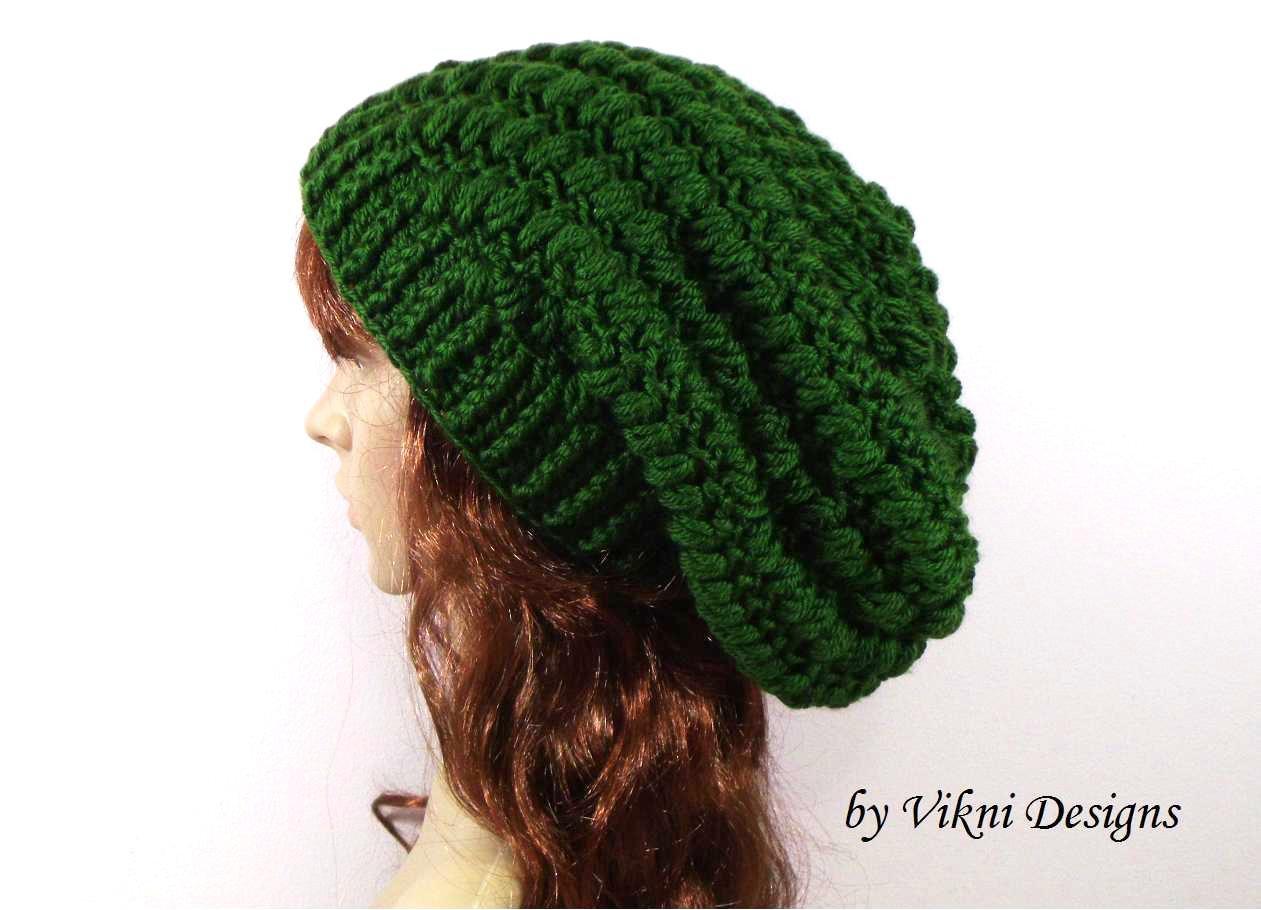 Crochet Slouchy Crochet Hat Beanie in Green by Vikni Crochet Designs