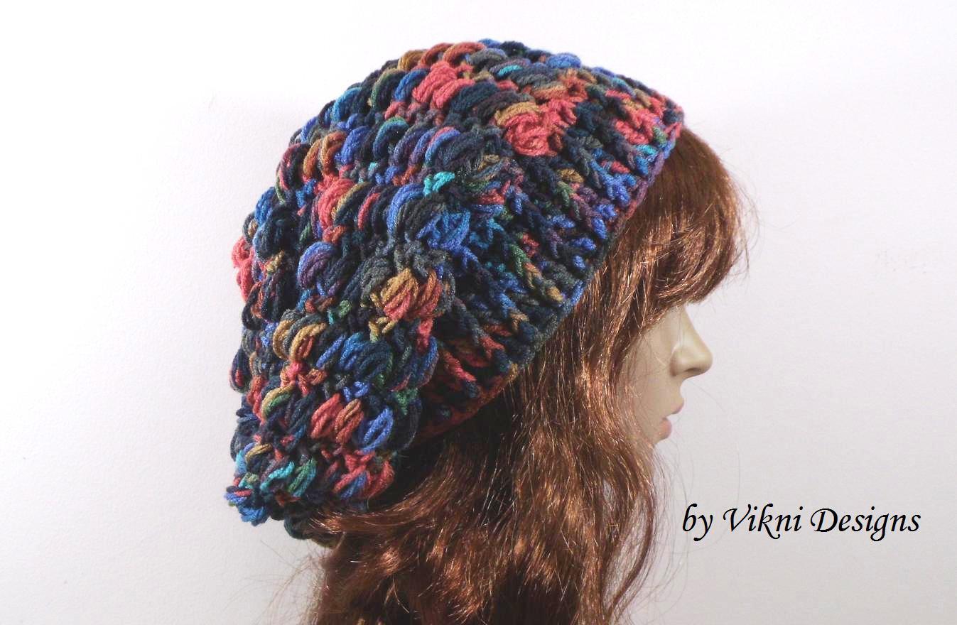 Crochet Slouchy Crochet Hat Beanie in Earthy by Vikni Crochet Designs