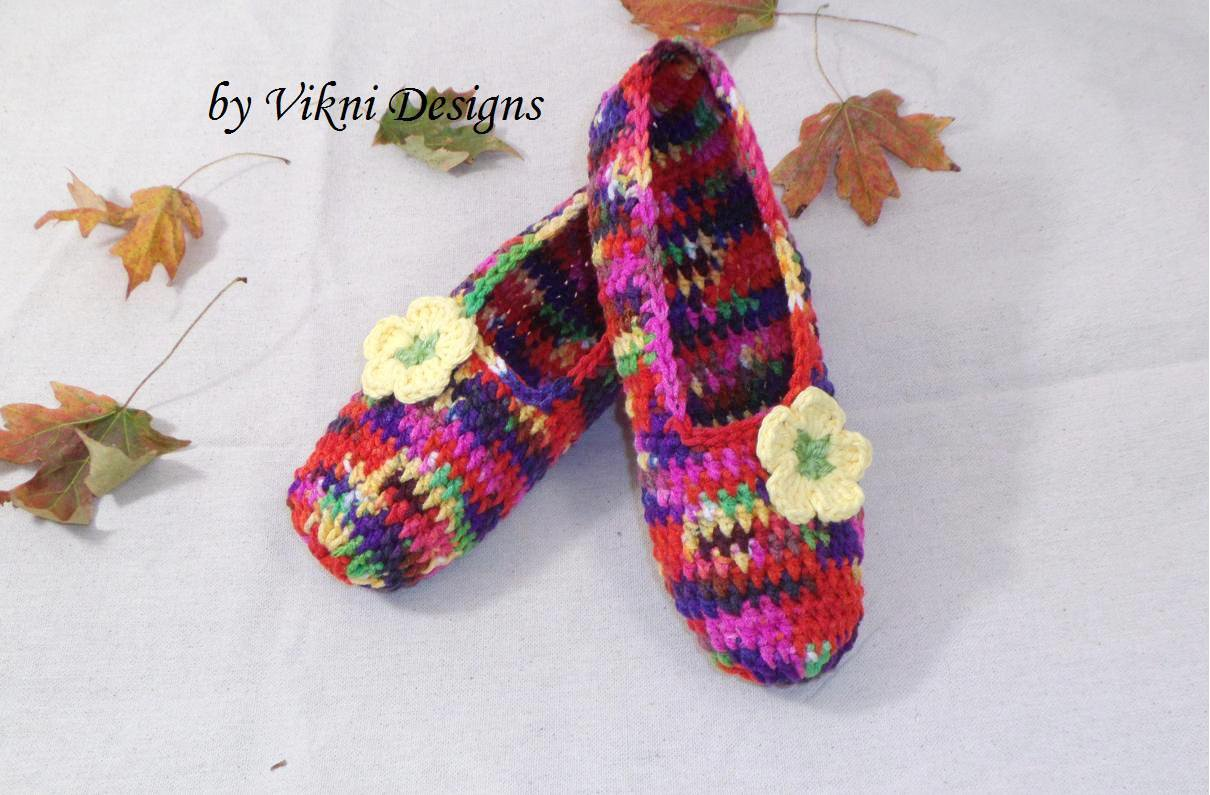 Butterfly Crochet Slippers, Women's Indoor House Shoes by Vikni