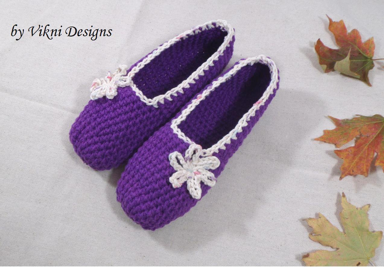 Cotton Slippers, Purple Crochet Slippers, Women's Indoor House Shoes by Vikni