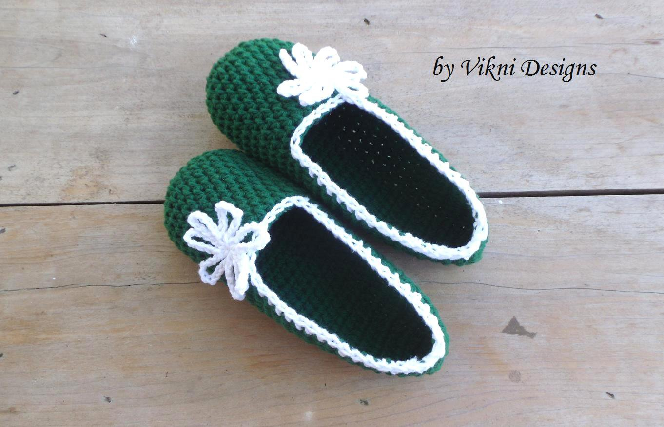 Cotton Slippers, Forest Green Crochet Slippers, Women's Indoor House Shoes by Vikni