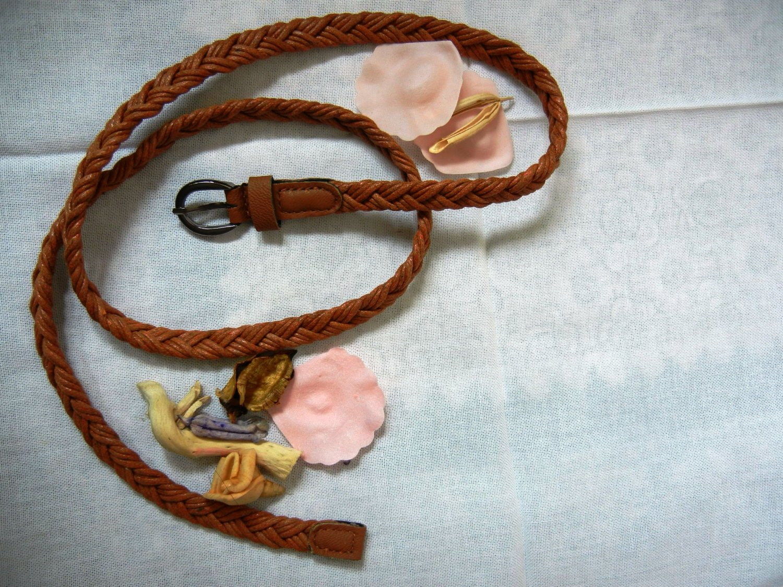 Woven braided belt - width 0.4inch Golden Rod