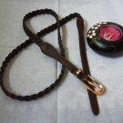 woman Woven Braided Belt with Golden Buckle - Width 0.4inch  Dark Brown