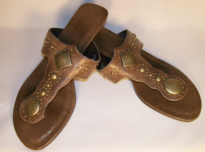 brown flat boho hippie sandals size 7.5