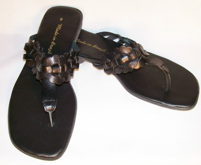 black leather flat sandals size 8