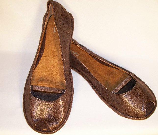 ballet flats open toe brown size 8
