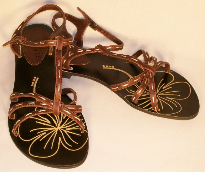 t-strap flat sandals brown size 8