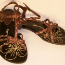 t-strap flat sandals brown size 8
