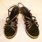 Bamboo brand platform wedge sandals black size 9