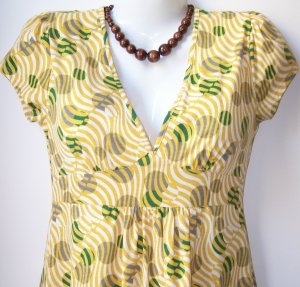 OutFitKit geometric yellow green grey retro print baby doll dress with accessories green yellow grey