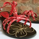 jeffrey d t-strap flat red sandals size 8.5