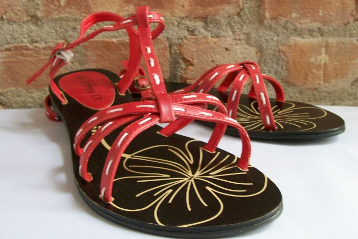 jeffery d t-strap flat sandals red size 10
