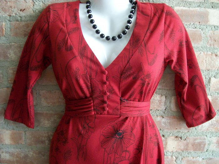 OutFitKit graphic print red black flower three quarter sleeve dress with accessories