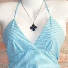 OutFitKit eggshell blue thin striped empire waist halter sundress with accessories