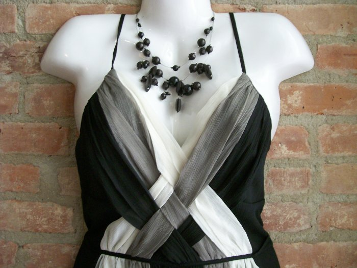 OutFitKit black grey white 1950's style sleeveless strappy cocktail dress with accessories