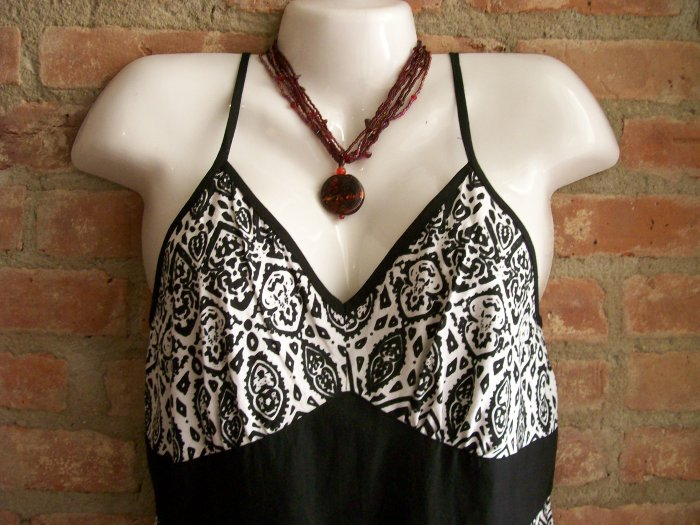 OutFitKit black and white graphic print empire waist a line sun dress with accessories