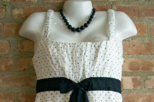 OutFitKit blue white polka dot sleeveless summer dress with accessories