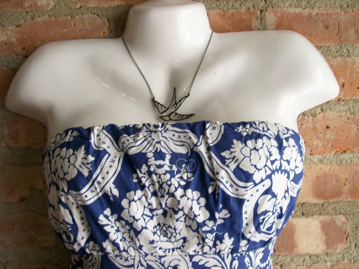 OutFitKit electric blue white french toile tube dress with accessories