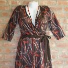 OutFitKit brown orange red swirl retro print three quarter sleeve wrap dress with accessories