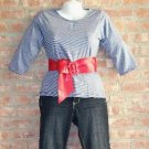 OutFitKit navy blue thin white stripe blouse dark flair jean with accessories