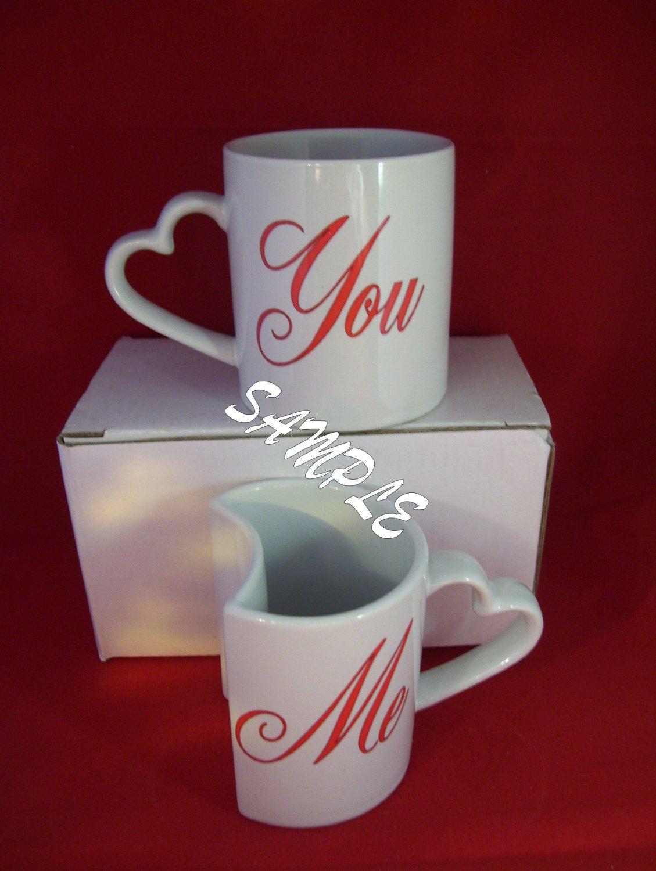 ... Photo Mug Set. Heart Shaped Handle. Valentines, Weddings,Showers