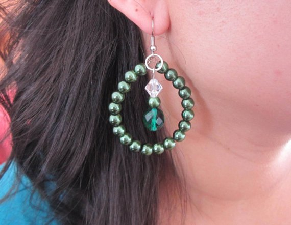 Emerald Pearl and Crystal Earrings, Beaded Earrings, Shell Pearl Earrings