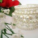 Crystal Pearl Bridal Cuff Bracelet
