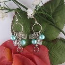 Turquoise Pearl and Crystal Dangle Earrings