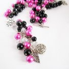 Chunky Beaded Necklace, Black and Hot Pink Beaded Necklace with Crystals and Charms