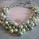 Beaded Cluster Necklace in Shades of Clover Green, Yellow and Ivory, Chunky Necklace.