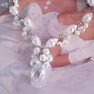 Ivory Pearl and Crystal Bridal Jewelry, Swarovski Crystal Wedding Necklace, Tear Drop Pendant