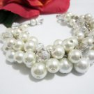 Bridal Jewelry, Beaded Cluster Bracelet, Cluster Pearl and Crystal Bracelet, White and Ivory